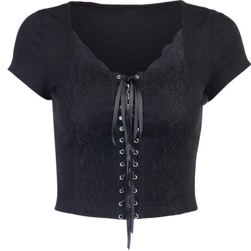 'Heart of Horror' Lace Up Top