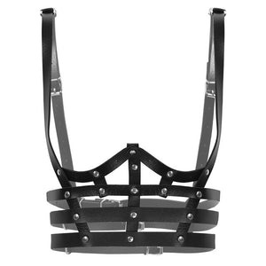 'Love will tear us apart' Black studded faux leather harness