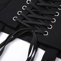 'Crypt' Lace Up Black Skirt