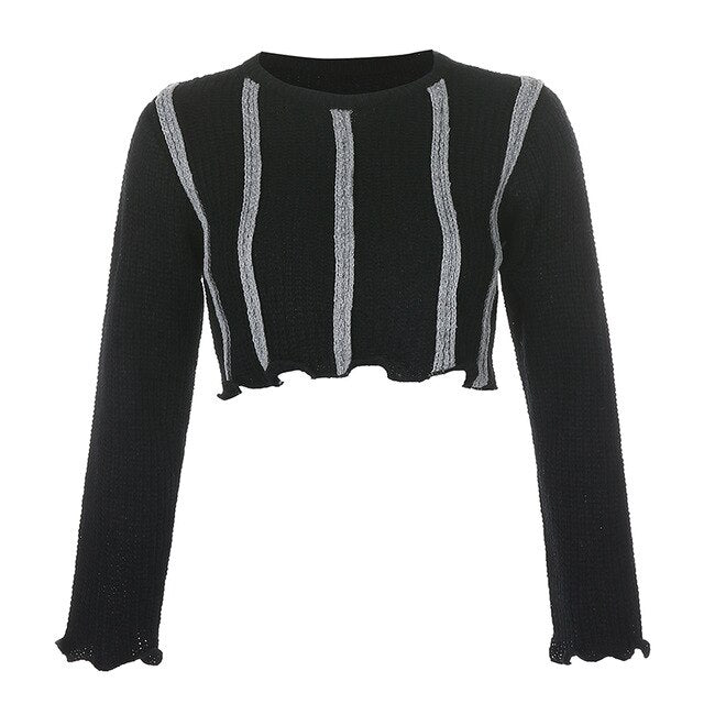 'Dusk til Dawn' Black and grey knitted stripe cropped sweater