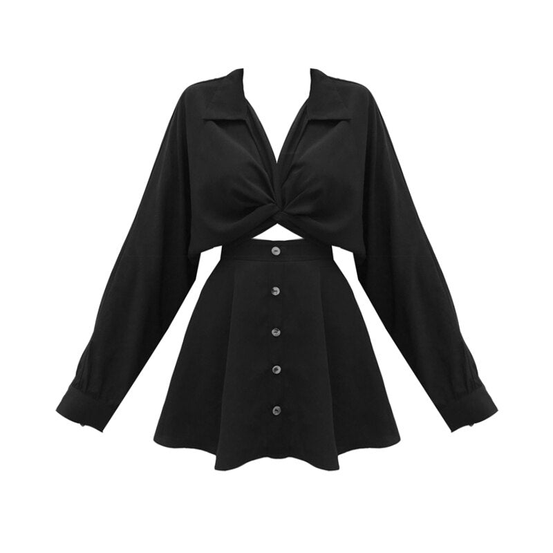 'Coven' Black tie up shirt detail dress