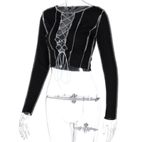 'Faint of Heart' Black lace up long sleeved top with contrast stitching