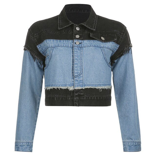 'Changeling' Black and blue denim jacket