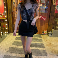 'Stunner' Plaid Blouse Top