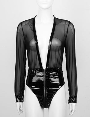 'Savage' Black wet look mesh bodysuit