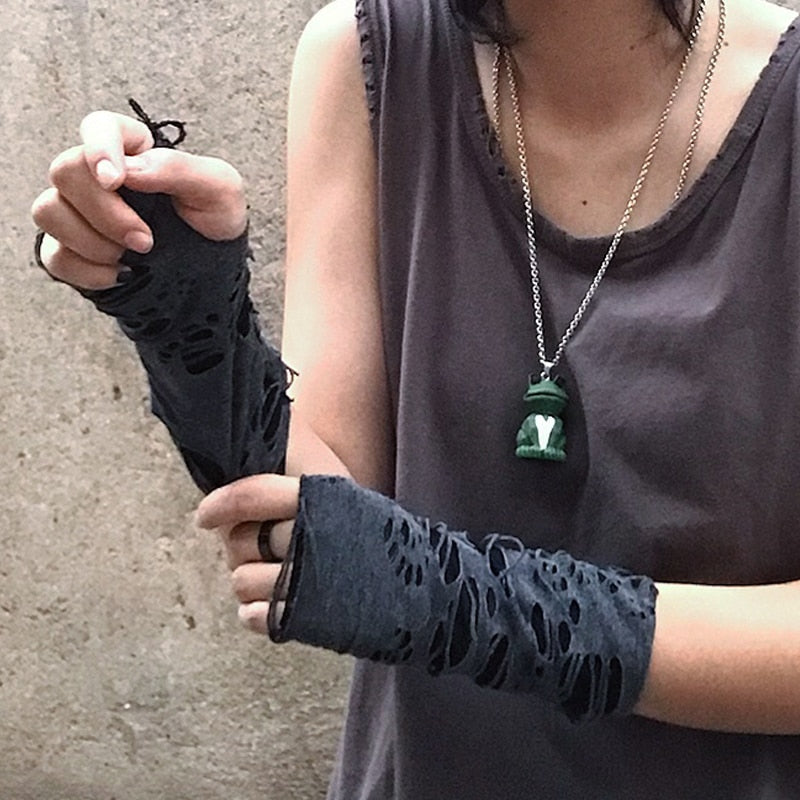 'Silence' Ripped Gloves (Pair)