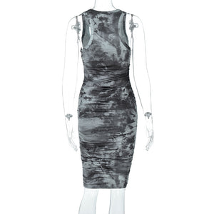 'Creepshow' Tie Dye Grey Dress