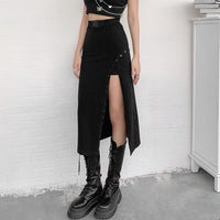 'Evil Kin' Black long skirt with slit