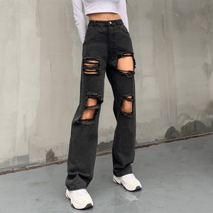 'Deliverance' distressed black wash jeans