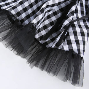 'Dropout' Black and white tulle lace up skirt