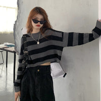 'Ashes to Ashes' Black and Gray striped sweater (One size)