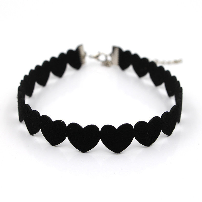 Heart Shaped Goth Black Velvet Choker Necklace