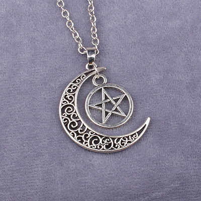 Triple Moon Goddess Pentagram Necklace