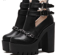 'Stomper' black chain platform boots. Vegan Faux Leather