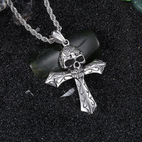 Skeleton Skull Cross Pendant Necklace
