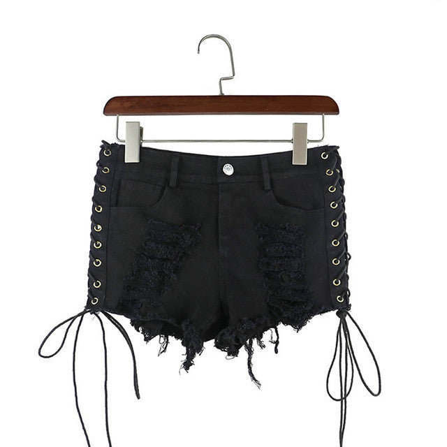 'Torn Apart' Black lace up shorts
