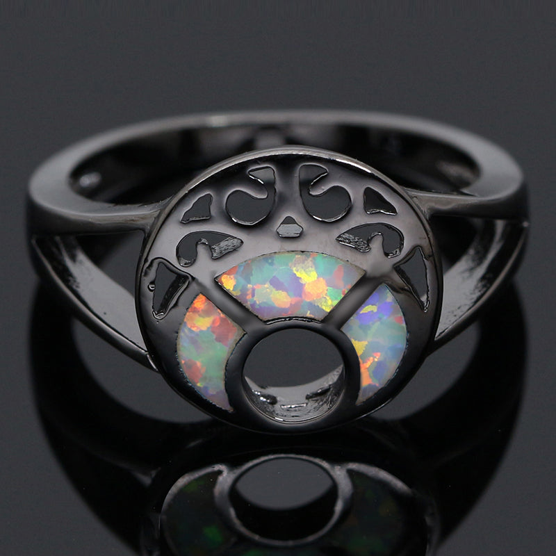 'Luna' Black 'Opal' ring