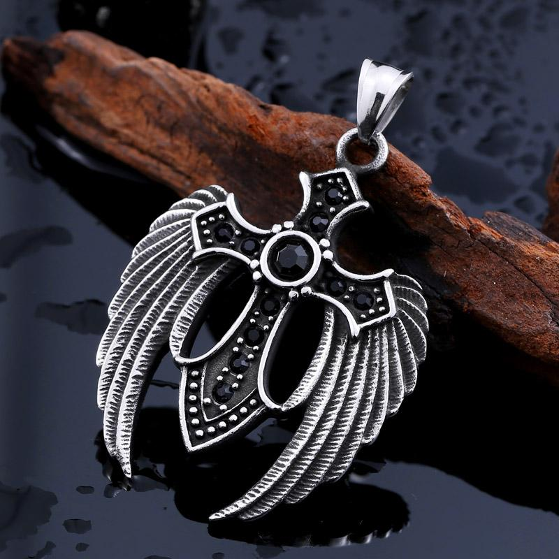 Winged Cross Stone Pendant Necklace