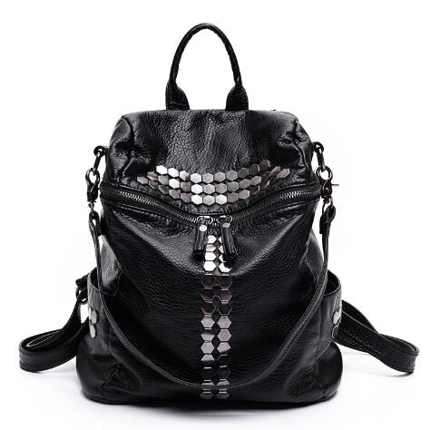 'Donnie' Black PU Backpack