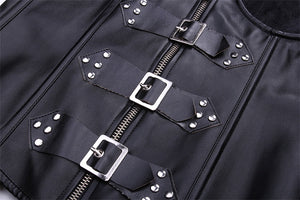 Sexy Black Synthetic Leather Waist Corset