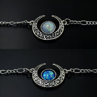 'Enchanted' synthetic opal crescent necklace