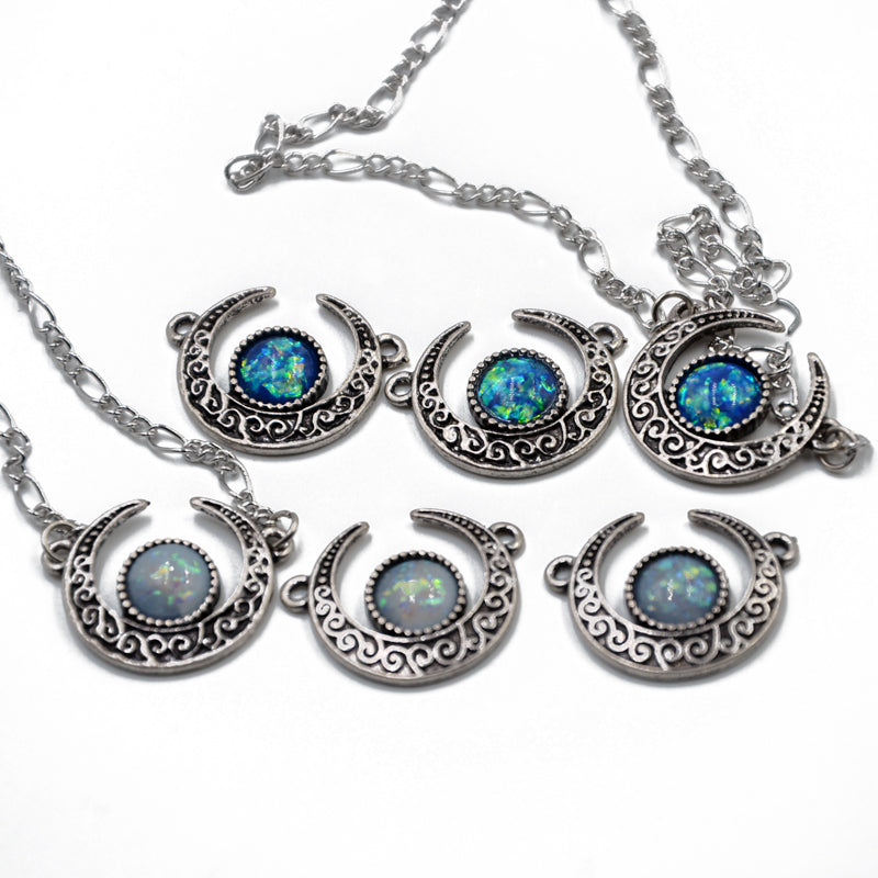 e6ff3eae63ad4 Enchanted' synthetic opal crescent necklace – Rags n Rituals