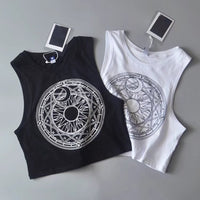 'Moonscape'' Sun and moon goth crop top
