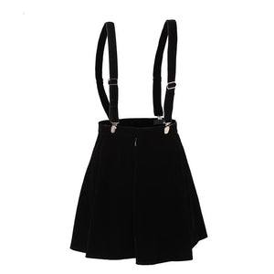 'Prep me' goth velvet strap skirt - LOW STOCK