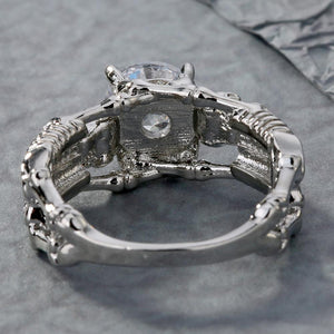'Deathly Duo' Silver tone clear stone ring