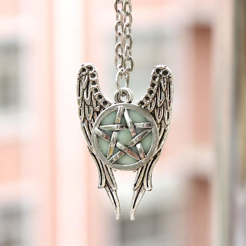 Pentagram Glow In The Dark Pentacle Angel Wings Pendant Necklace