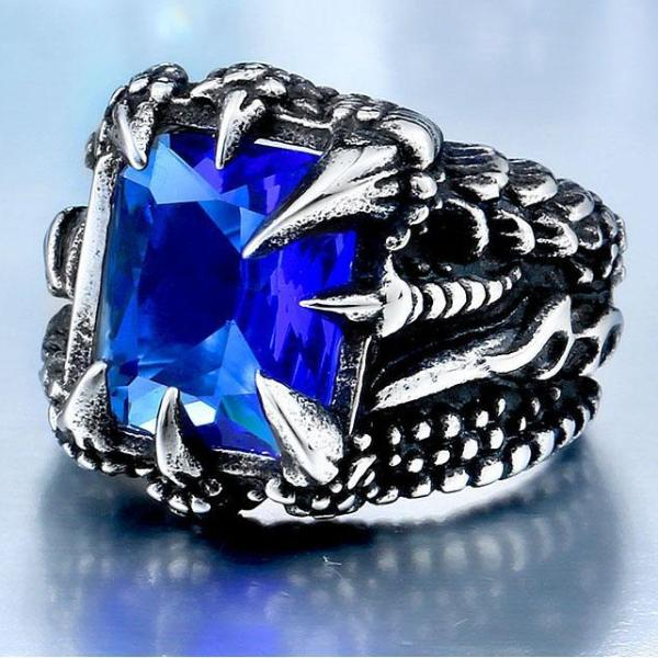 Goth Claw Red/Blue/Black Stone Ring
