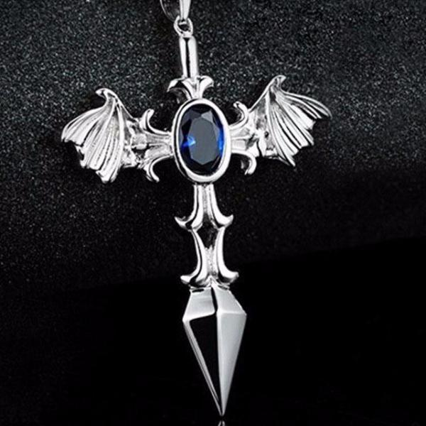 Bat Blue Stone Cross Necklace