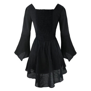 'Demon' Black lace trim gothic dress
