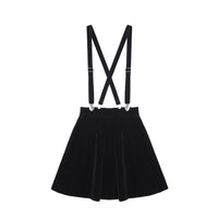 'Goth Doll' Velvet dungaree braces strap dress