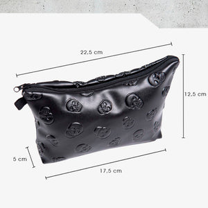 'Catacomb' Embossed Skull Faux Leather Make Up Bag