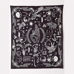 Black and white occult wall tapestry 145cmx165cm