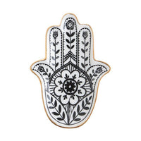 Occult Black and White Hand of Hamsa trinket jewellery tray