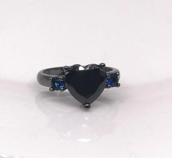 'Heart of the Forest' Black and blue heart ring