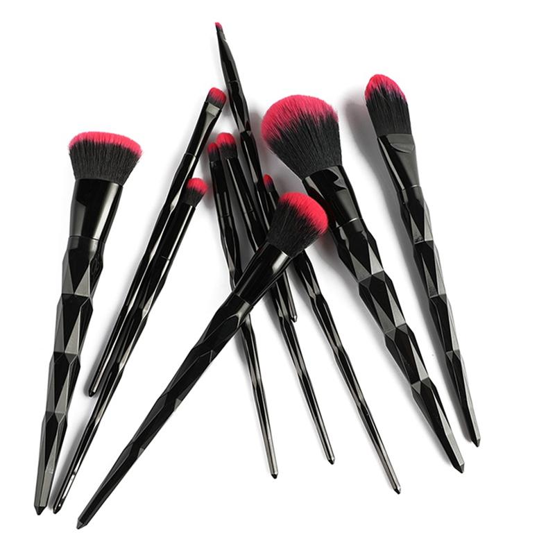 10Pcs Red and black geometric make up brushes. Synthetic