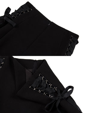 'Darling' Black Lace Up Skirt