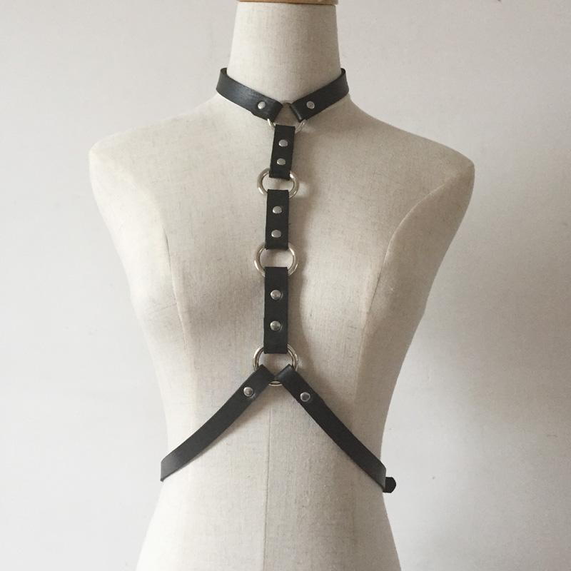 'Dominate' Black O Ring faux leather harness