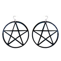 Black Large Acrylic Pentagram Earrings