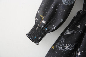 'Cosmos' Space star sign print midi/ maxi dress