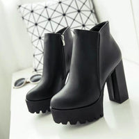 'Goth Chic' Simple Black Ankle boots