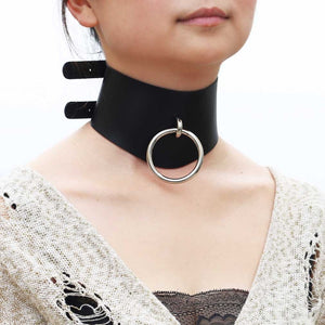 'Slave' Black faux leather 'O' ring choker