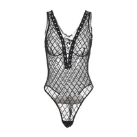'Bad Girl' Fishnet lace up bodysuit
