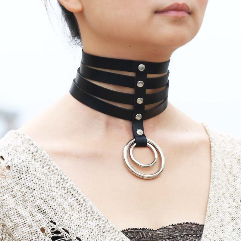 Multi Layer Faux Leather Ring Choker