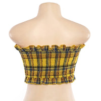 'Yellow Haze' Plaid lace up crop top