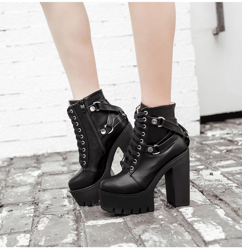 'Stardust' Goth Black Ankle Boots