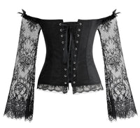 'Witchery' Black off the shoulder lace sleeved corset. S-6XL